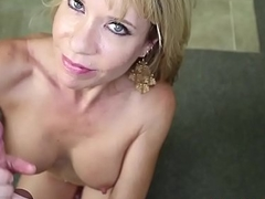 Busty stepmom tugging dick in POV