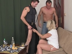 Fair-haired grandma loves fucking three cocks