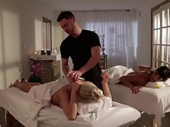 Busty milfs juggling on masseurs lucky dick