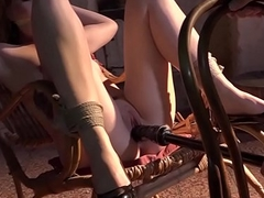 Submissive pretty good babe hogtied stimulated and machine-fucked