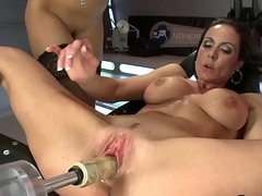 Big-busted machine milf pussy enticed in les sex