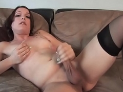 Auditioning tranny deep throats dick increased by masturbates off