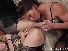Lesbian babes in fishnets anal toying