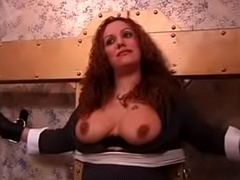 big breast redhead bound before getting say no to breast teased
