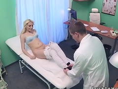 Tow-headed babe sucks balls relating to doctor