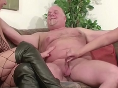 German Mummy and Mature fuck with padre at hand Trio