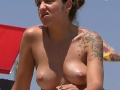X-rated brunette babe Imported on the Beach
