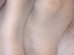 homemade footjob with torn nylonsocks plus spunk flow