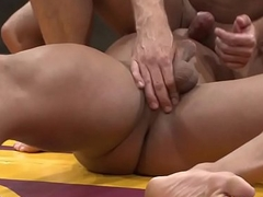 Robust athlete mouthfucking dominated sub